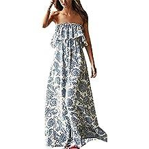 Vestidos Verano Mujer Largos Casual Elegantes Estampados Vintage Boho Vestidos Playa Hombros Descubiertos Espalda Descubierta Sueltos