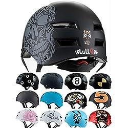 SkullCap Skateboard & BMX Casque de vélo pour Enfants et Adultes, Design: Skull, Taille: L