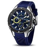 MEGIR pour Homme Sport Montre-Bracelet Mouvement à Quartz chronographe Calendrier Militaire de l'armée élastique en Silicone Montres Bleu