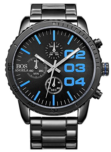 BOS Herren-Quarz-Analog-Armbanduhr-Chronograph-Edelstahl-Band-Blau 8013