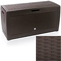 EAZYGOODS Extra Large Capacity Plastic Garden Storage Box Chest Container, Weatherproof with Durable & Lockable Sit On Lid 310 L (Rattan Design, Brown (rattan))