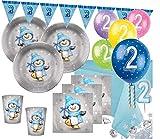 XXL 80 Teile Zweiter Geburtstag Deko Set Pinguin Junge in Hellblau und Silber 16 Personen 2. Geburtstag