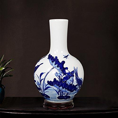 suxiaopei Jingdezhen Keramik Handbemalte Qinghua Porzellan Relief Vase Wohnzimmer Xuanguan Ornamente Startseite Bogu Rack Skyball Flasche (ohne Boden) 22 x 35 cm -