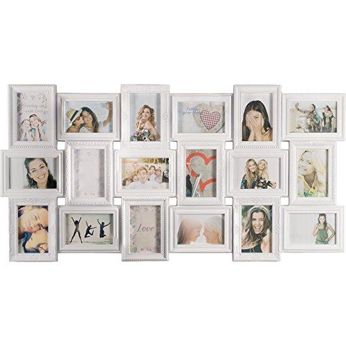 Smartfox Bilderrahmen Fotorahmen Collage für 18 Bilder im Format 10x15 cm in Weiß, 103x52cm, quadratisch