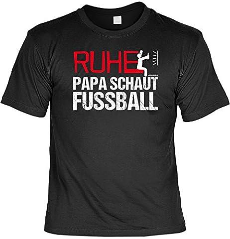 Fussballfan T-Shirt RUHE PAPA SCHAUT FUSSBALL Vater Fußballer Shirt lustiger Print in schwarz Gr: XXL : )
