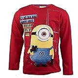 Purzelbaum Minions Langarmshirt aus 100% Jersey Baumwolle, Langarm T-Shirt für Jungen mit Stuart aus Ich Einfach Unverbesserlich - Shirt Farbe: Rot, Gr. 128