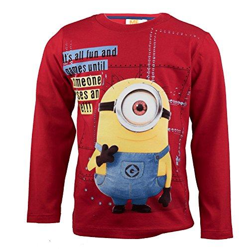 Verziert Long Sleeve Jersey-t-shirt (Purzelbaum Minions Langarmshirt Aus 100% Jersey Baumwolle, Langarm T-Shirt für Jungen mit Stuart Aus Ich Einfach Unverbesserlich - Shirt Farbe: Rot, Gr. 110)