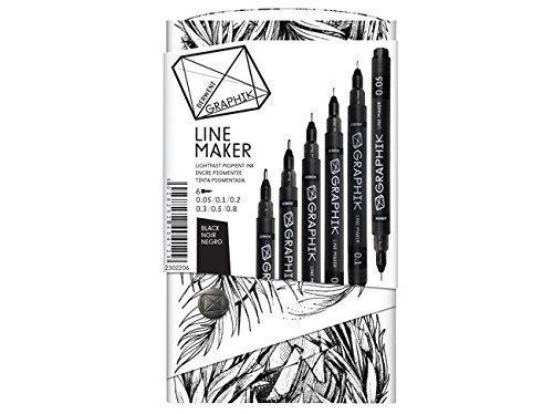 Derwent Graphik Line Maker Marker Pen BLACK GRAPHIC PACK OF 6 0.05 0.1 0.3 0.5 -
