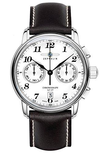 Zeppelin–Braccialetto unisex orologio cronografo al quarzo in pelle 7678–1