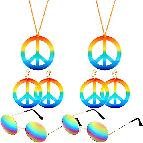 2 Piezas Collar del Signo de Paz Hippie de Color Arco Iris Pendientes