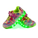 LED Zapatos,Shinmax Primavera-Verano-Otoño Transpirable Zapatillas LED 7 Colores Recargables Luz Zapatos de Deporte de Zapatillas con Luces Para Niños Niñas con CE Certificado (32 EU, Rosado-)