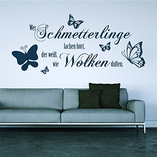denoda Wer Schmetterlinge lachen hört.- Wandtattoo Schwarz 125 x 50 (Wandsticker Wanddekoration Wohndeko Wohnzimmer Kinderzimmer Schlafzimmer Wand Aufkleber)