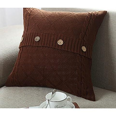 Più colore stile semplice divano cuscino/Tinta unita in cotone lavorato a maglia guanciale/semplice pulsante stile-I 45x45cm(18x18inch)VersionB