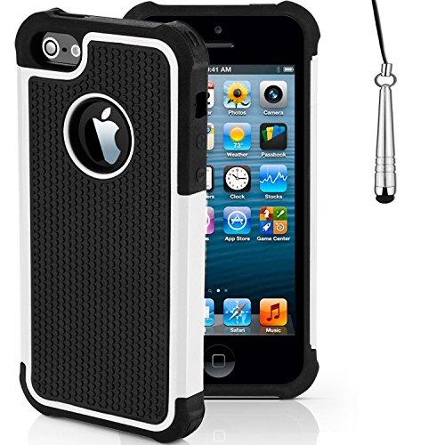 Stoßfest Hülle/Case für Apple iPhone 5 / 5s / SE / Absorberabdeckung & Displayschutzfolie / EJC Avenue / Rot Weiß