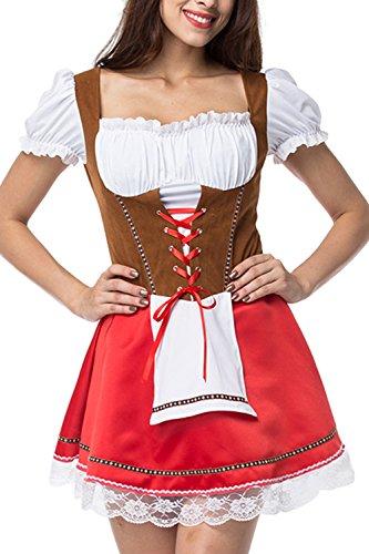 Zonsaoja Damen Dirndl Kleid Deutschen Traditionellen Oktoberfest Kostüme rot XL