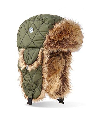 Casquette bonnet d'hiver avec fourrure synthétique et intérieur en fourrure synthétique pilotenmütze Vert - Vert olive