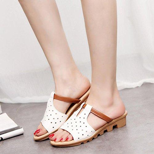 Saingace Frauen Sommer weibliche Sandalen Mode feste Strand Slides Hausschuhe Schuhe Weiß