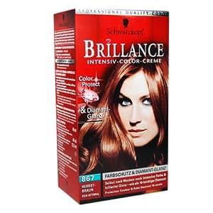 Schwarzkopf Brillance -Intensiv-Color- Creme Herbstbraun (867) Braun-Ton/ brillanter Glanz/ Perfekte Grauhaarabdeckung/ Coloration/ Haarfarbe
