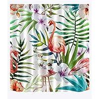 Cortina de la ducha XINGUANG Moldproof Impermeable Tela Decoración para el hogar Cortina de baño Acuarela Flamingo y Hojas Tropicales Cortina (Tamaño : 150 * 180)
