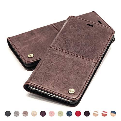 QIOTTI Hülle Kompatibel mit iPhone 8 I iPhone 7 Ledertasche aus Hochwertigem Leder RFID NFC Schutz mit Kartenfach Standfunktion in Kaffee Braun