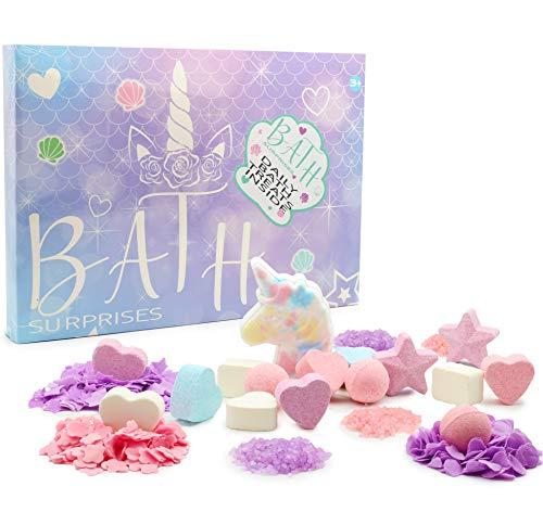 KreativeKraft Einhorn Badebomben Set |24 Stücken | Enthält Badebomben, Konfetti Und Badesalz | Geschenkidee Für Frauen Und Mädchen | Bomb Badekugel | Bomb Cosmetics Seife