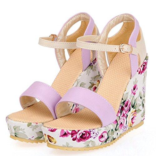 Flower TAOFFEN High Platform Fashion Wedges Sandalen Damen Print Heel Lila taWqga
