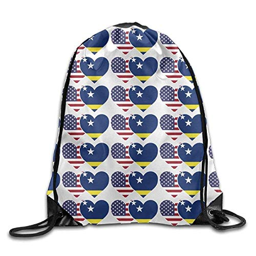 Naiyin Unisex Drawstring Backpack, Curacao USA Flag Twin Heart Print Drawstring Backpack Rucksack Shoulder Bags Gym Bags Sport Bag Usa-basketball-mobile