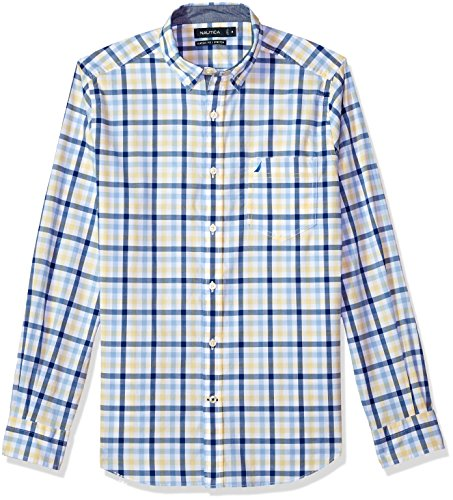Nautica Men's Classic Fit Stretch Plaid Long Sleeve Button Down Shirt, Shoreline Yellow, XX-Large