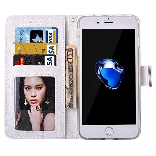 iPhone Case Cover Pour iPhone 7 Plus Oracle Texture Séparable Horizontale Flip étui en cuir avec des fentes pour cartes et porte-monnaie et cadre photo & Lanyard ( Color : Coffee ) White