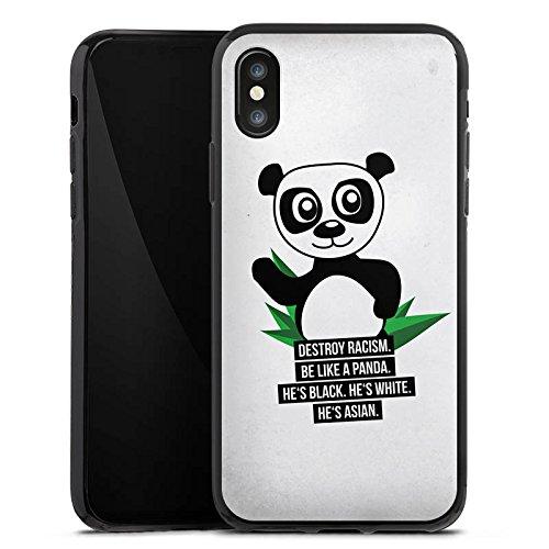 Apple iPhone X Silikon Hülle Case Schutzhülle Sprüche Panda Weiß Silikon Case schwarz