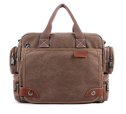 Tonwhar Classic Bags Messenger Bag Laptop-Schultertasche Braun - Coffee