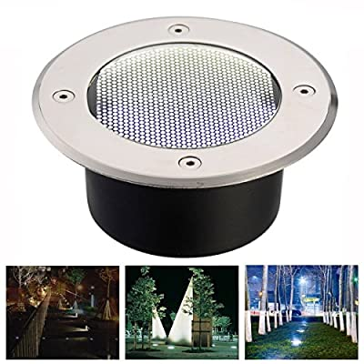 Weatherproof Stainless Steel Outdoor Solar Power LED Bulbs Light Decking Buried Lamp Path Way Garden Under Ground Deck Yard Patio Landscape Decoration Step Solar Lights (White)