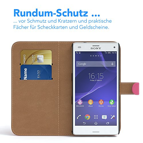 Sony Xperia Z3 Compact Hülle - EAZY CASE Premium Flip Case Handyhülle - Schutzhülle aus Leder in Braun Pink (Book)