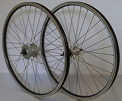 26 Zoll Fahrrad Laufradsatz REFLEX Hohlkammerfelge schwarz Shimano Dynamo DHC30003/THX800 Vollachse silber Niro silber