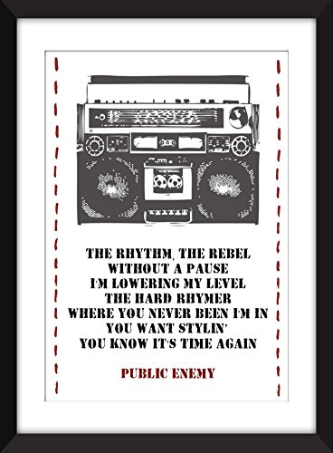 Public Enemy 'Rebel Without a Pause'- Öffentlicher Feind Rebell Ohne Pause Lyrics Print 11 x 14/8 x 10/5 x 7
