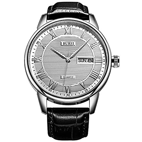 BUREI Classic Casual Quartz Mens Watch Day and Date Men's Wrist Watch Analogue with Black Leather Strap and White Dial Simple Design Gift for