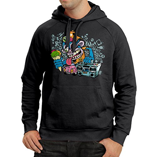 lepni.me Hoodie The Funky Monkey DJ - 80s 1980s Retro Vintage Music Deck Cassette Player