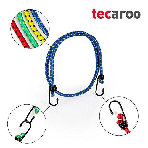 TECAROO 12er-Set Universal-Gepäckspanner mit Haken, extra stark mit 2 Jahren Zufriedenheitsgarantie - Spanngurte / Spanngummi / Expander