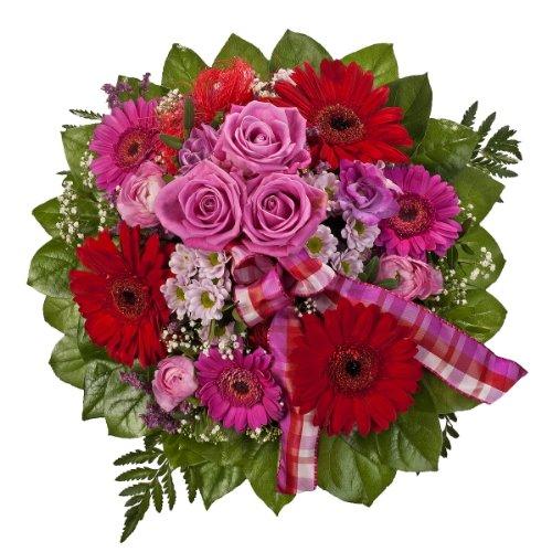 """Dominik Blumen und Pflanzen, Blumenstrauß \""""Falling in Love\"""" mit Rosen, Gerbera und Freesien"""