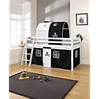 Noa and Nani - Midsleeper Cabin Bed with Pirate Tent and Tunnel - (White)