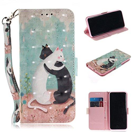Cozy Hut Samsung Galaxy S8 Plus Hülle, PU Leder Tasche mit Intern Karte Schlitz, Magnetic Closure mit Standfunktion und Handy Gürtel Schutzhülle für Samsung Galaxy S8 Plus - Schwarz-Weiß-Katze (Kindle Otterbox)