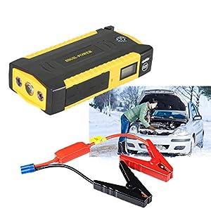 600A 82800mAh Batería Arrancador de Coche, Pantalla LCD, USB Puertos,Jump Starter Profesional Arranque Potente(6.0L Gas o 4.0L Diesel),para Moto,Tractor,Barco,Furgoneta y Camiones