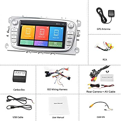 Android-autoradio-fr-Ford-GPS-Navigation-camecho-7-Zoll-kapazitive-Touchscreen-Auto-Stereo-Player-WiFi-Bluetooth-fm-empfnger-dual-USB-fr-Ford-Focus-Mondeo-c-max-s-max-Galaxy-ii-kuga-Silber