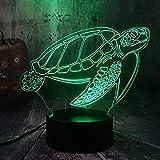 Lampada per bambini ,Luce notturna Oceano Animale Nuoto Tartaruga Chelonia mydas Tartaruga di mare 3D LED Lampada da scrivania Lampada da notte per feste Decorazioni per la casa Giocattolo per ba