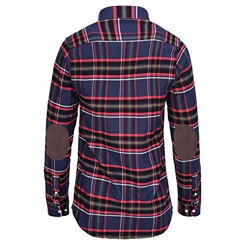 L. bo apparel, tough: camicia di flanella da uomo con toppe ai gomiti marroni, a maniche lunghe, a quadri blu e rossi, s 37/38