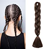 "60cm 24"" Extension Treccine Capelli Lunghi Finti per Trecce Braids Extension Kanekalon Hair Fibre 100g/Bundle, Castano Scuro"