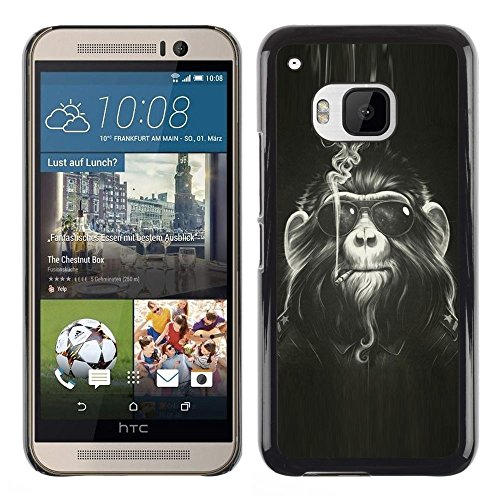 ikiki-tech-case-cover-housse-coque-etui-monkey-hairy-art-smoke-sunglasses-ape-painting-htc-one-m9