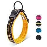 Einstellbare reflektierende Hundehalsband Nylon Haustier Kragen gepolstert atmungsaktive Anti-Choke Anti-Reiben Mesh mit Ring
