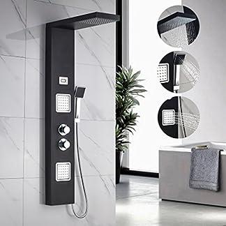 Auralum® Columna ducha de hidromasaje de Acero Inoxidable con Termostato para Bañera y Ducha, Color Negro