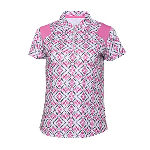 Bette & Court Damen Shirt Sleeve Print Polo with Zip Placket Solid Piecing kurzärmelig, weiß, XX-Large Sleeve Solid Zip